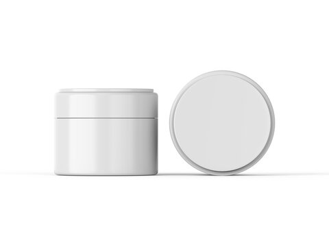 Cosmetic cream jar mockup template on isolated white background, ready for design presentation, 3d illustration