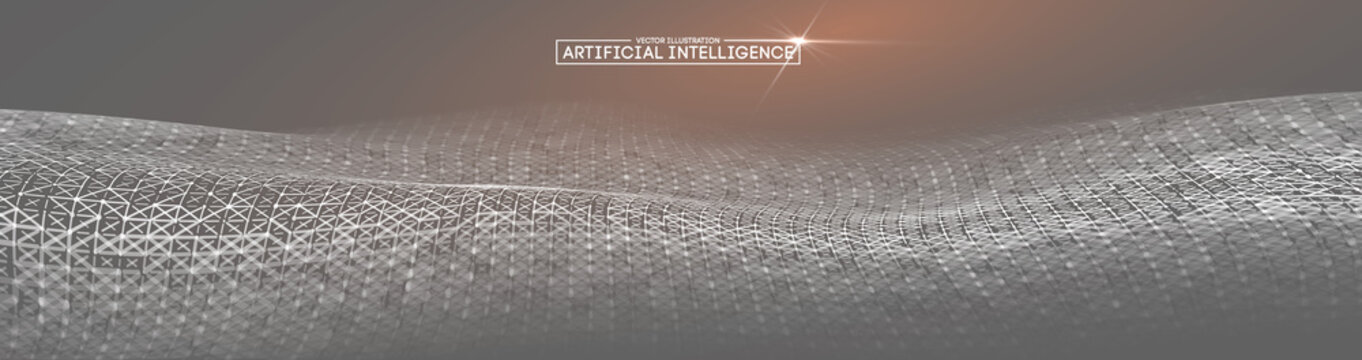 Grey background for Business presentation. Ai Future technology background. Artificial intelligence. Big Data Business Concept.