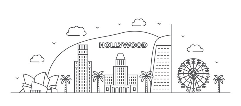 Los Angeles Line drawing Hollywood illustration in line style on white background