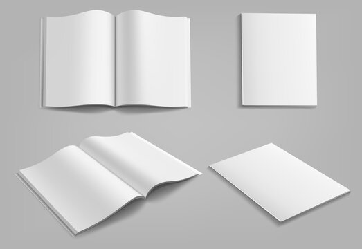 Set of blank magazine, album or book mockup mock up isolated on gray background.