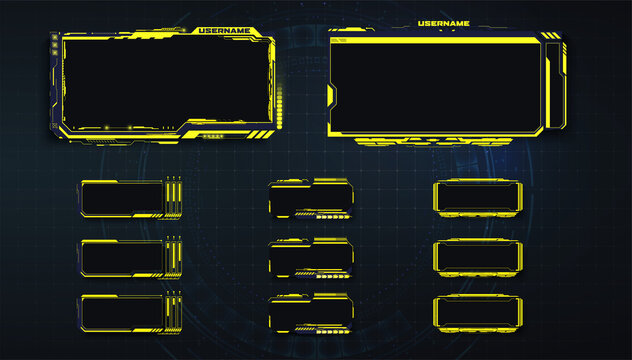 Streaming panel overlay design template. Set of yellow gaming panels and overlays for cybersport streamers in futuristic style. Vector Illustration