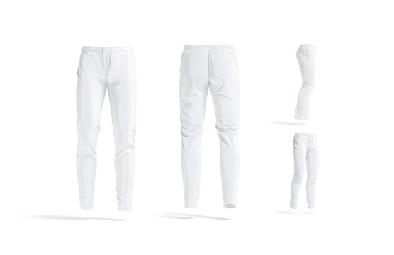 Blank white sport pants mock up, different views