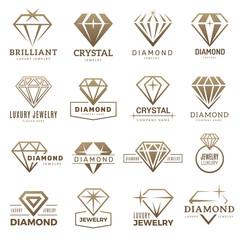 Fototapeta Diamond logo. Stylizes gemstones royal luxury symbols with jewellery recent vector templates. Gemstone jewelry, jewel and brilliant, diamond decoration illustration