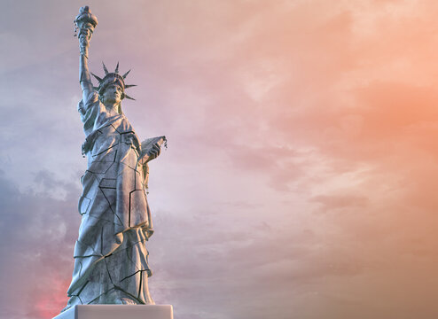 The Statue of Liberty with cracks, symbol of US problems: Presidential election in the United States of America protests, USA democracy crisis, coronavirus pandemic, economy conflicts 3D illustration