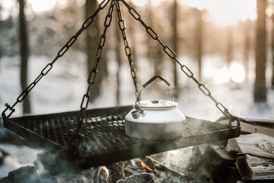 coffee kettle on the fire