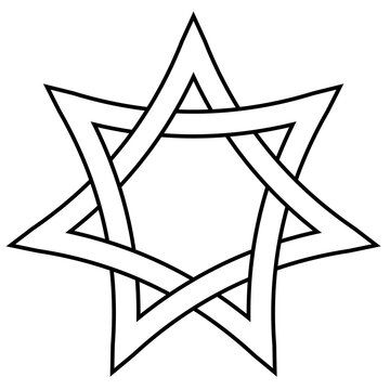 seven pointed star with braided sides, vector star david weave icon in outline style