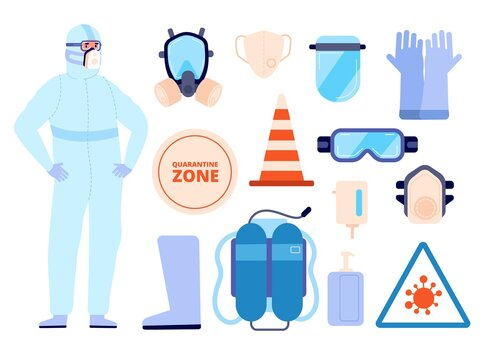 Medical safety equipment. Man in protect clothes, personal protective elements icons. Person wear boots face mask utter vector infographics. Illustration medical doctor in suit and surgical mask