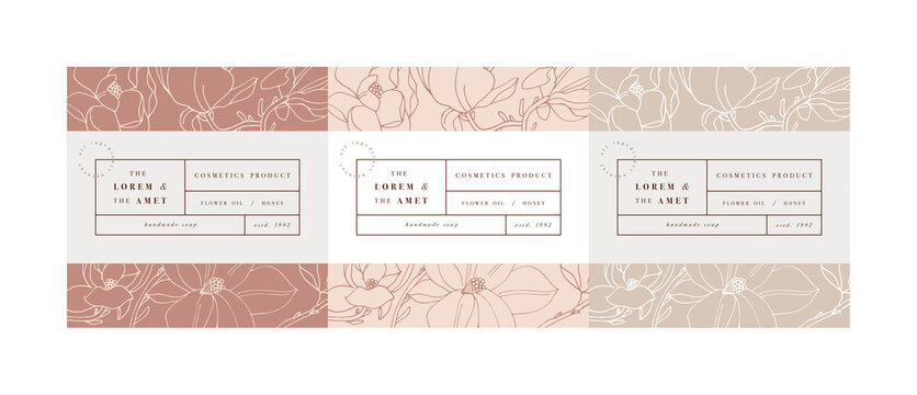 Vector set pattens for cosmetics with label template design. Patterns or wrapping paper for package and beauty salons. Magnolia flowers. Organic, natural cosmetic.