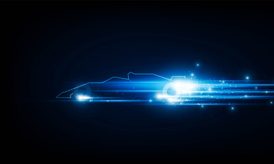 High speed concept. formula 1 car in the form of Arrow Light out technology background Hitech communication concept innovation background, vector design