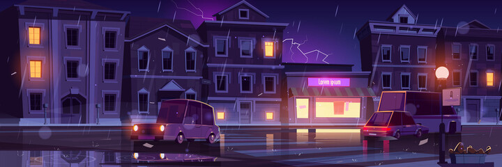 Rainy street, wet weather in night town with cars going along illuminated road with lampposts and crossroad, water puddles and flash lightning in dark sky above buildings, cartoon vector illustration Fotobehang