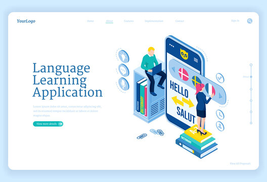 Language learning application banner. Digital online education service, mobile app for training foreign languages. Vector landing page with isometric people studying with smartphone and laptop
