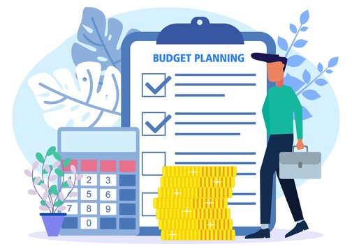 Illustration vector graphic cartoon character of budget planning