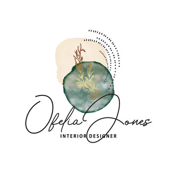 Watercolor simple ink shapes emerald green luzury design. Painting texture template Bohemian logo rustic sage green color, and gold vector
