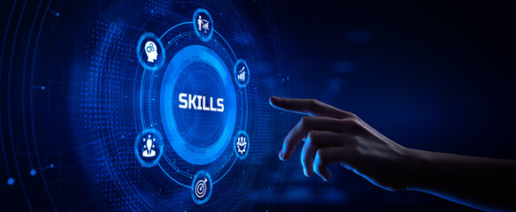 Skills Personal development concept. Hand pressing button on screen.