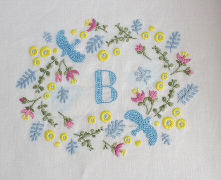 花と鳥の刺繍枠