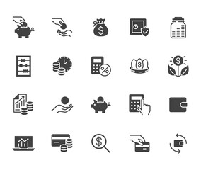 Fototapeta Money income flat icon set. Pension fund, profit growth, piggy bank, finance capital minimal black silhouette vector illustration. Simple glyph signs for investment application
