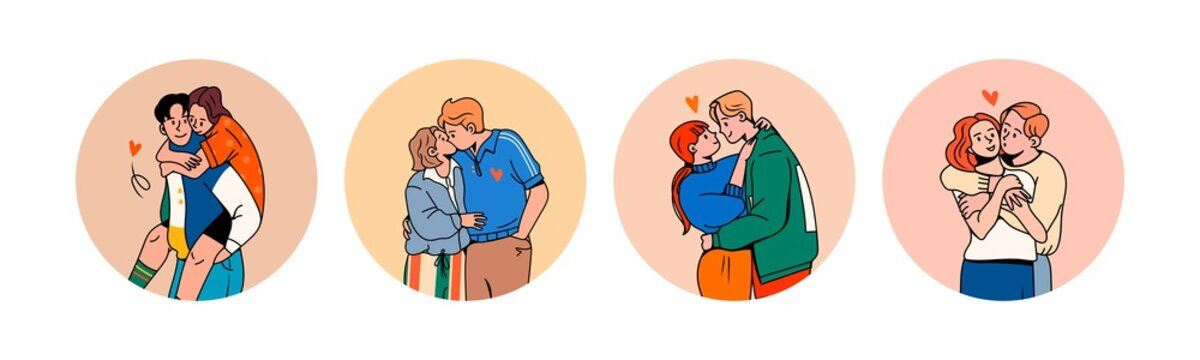 Set of four Young couples in Trendy clothes. Hugging and kissing. Happy together. Round social media Icons. Romance, Valentine's Day concept. Cartoon comic style. Hand drawn Vector illustrations