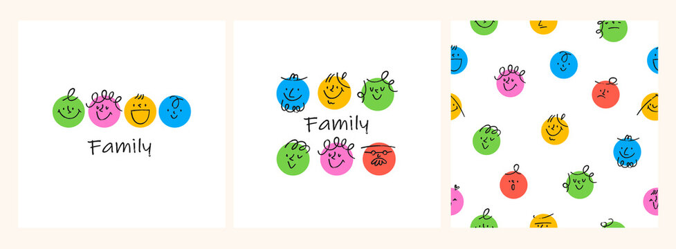 Contemporary Family portraits. Round abstract comic Faces with various Emotions. Crayon drawing style. Different colorful characters. Seamless pattern. Set of Hand drawn trendy Vector illustrations