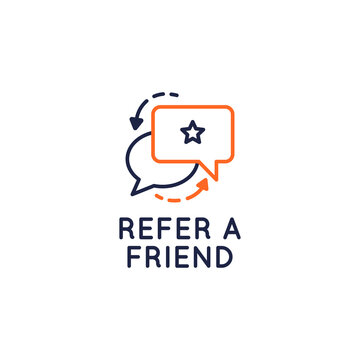 Refer a Friend icon. Referral program concept with speech bubbles icons isolated on white background. Vector illustration