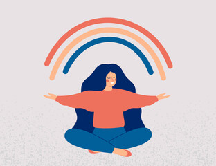 Fototapeta Happy woman sits in lotus pose and open her arms to the rainbow. Smiled girl creates good vibe around her. Smiling female character enjoys her freedom and life. Body positive and health care concept obraz