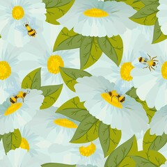 beautiful pattern of daisies flowers drawn in cartoon style. bees sit on flowers. seamless pattern of white flowers. Vector illustration isolated on white background.