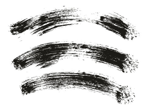 Round Brush Thick Curved Background Artist Brush High Detail Abstract Vector Background Set