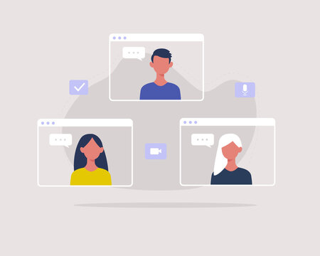 Group video call concept. People having an online meeting. Young characters virtual gathering together online. Vector illustration in flat style.