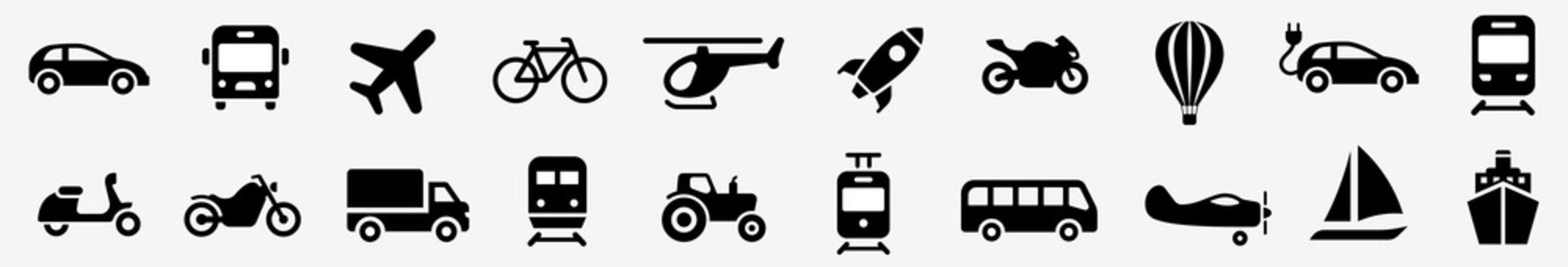 Transport simple icon. Transportation icons set vector