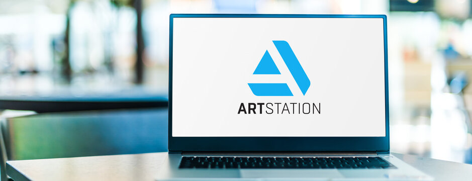 Laptop computer displaying logo of ArtStation