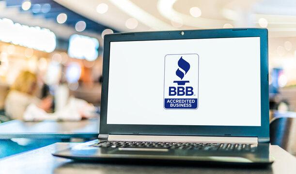 Laptop computer displaying logo of The Better Business Bureau
