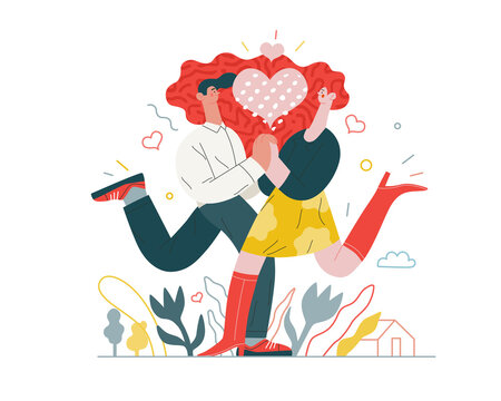 Couple in love - Valentines day graphics. Modern flat vector concept illustration - a young hetoresexual couple running towards each other, holding their hands. Heart. Cute characters in love concept