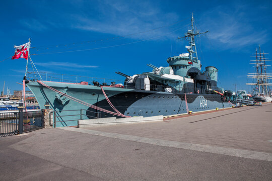 ORP Blyskawica is a Grom-class destroyer which served in the Polish Navy during World War II.  Gdynia in Poland. April 6, 2020