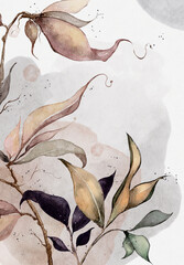 drawing of a branch with leaves and watercolor splashes on a white background