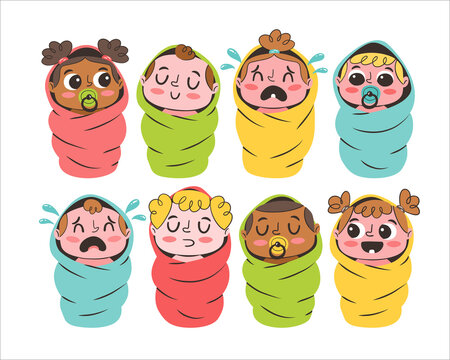Set of cute cartoon babies isolated on white background. Baby avatar collection. Different ethnicities and genders.