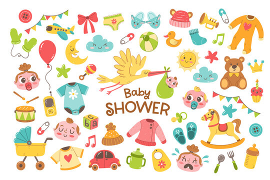Big set of cute hand drawn baby and newborn elements. Cartoon objects isolated on white background. Colorful baby clothes, toys and care accessories.