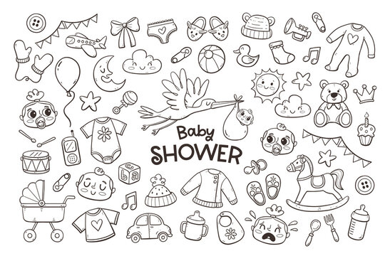 Big set of cute doodle baby and newborn elements. Hand-drawn objects isolated on white background. Baby clothes, toys and care accessories.