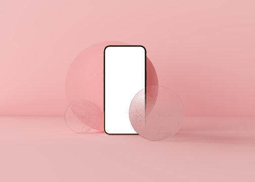 Mobile phone, template modern gadget. Smartphone mockup isolated realistic pink scene Illustration for app, web, presentation, design. Realistic 3d render.