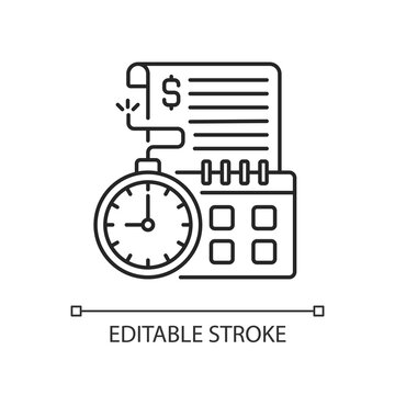 Time limit linear icon. Repaying by stated date. Loans with term lengths. Monthly payments. Thin line customizable illustration. Contour symbol. Vector isolated outline drawing. Editable stroke