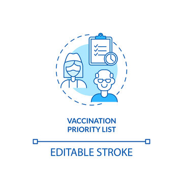 Vaccination priority list concept icon. Covid vaccination. Number of people who need special help. Cure idea thin line illustration. Vector isolated outline RGB color drawing. Editable stroke