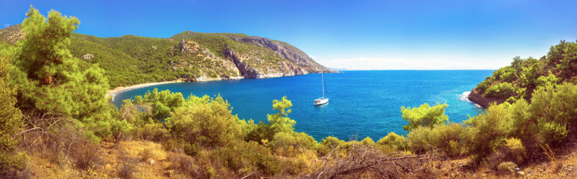 Beautiful bay on the Carian trail. Aegean Sea, Turkey. Panorama, high resolution.