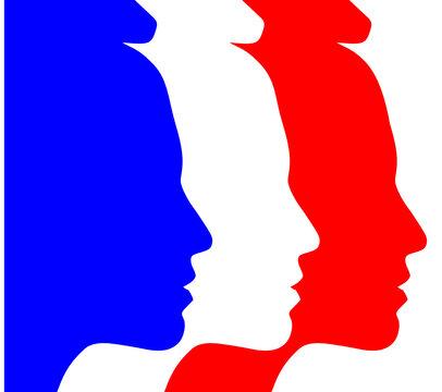Symbole république française - Marianne tricolore