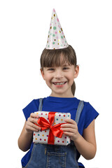 Funny girl in birthday cap isolated on white background. Portrait of little girl with a gift box. Celebrate birthday.