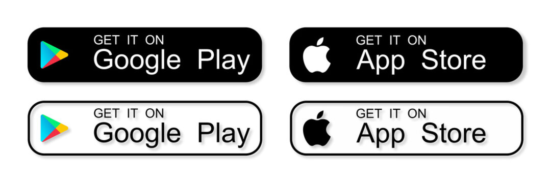 Apple App store and Google Play store. Download App buttons. Isolated black icons set on white background. Download mobile application, UI elements