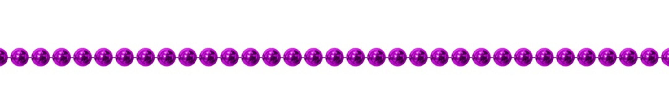 Vector realistic isolated purple beads for Mardi Gras for decoration and covering on the white background. Concept of Happy Mardi Gras.