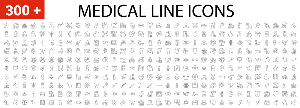 Medical Vector Icons Set. Line Icons, Sign and Symbols in Linear Design. Medicine, Health Care and Coronavirus COVID-19 pandemic. Mobile Concepts and Web Apps. Modern Infographic Logo and Pictogram.