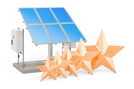 Customer rating of solar panel. 3D rendering