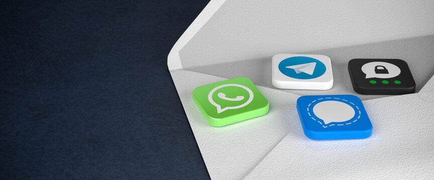 Logos of the mayor messaging apps as tiles on an envelope on a dark background: Whatsapp, Signal, Telegram, Threema.