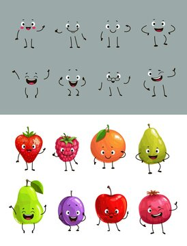 Cartoon vector fruits and berries with funny faces strawberry, raspberry and orange, pear, avocado and plum with apple and pomegranate. Fruits express positive emotions and waving hands isolated icons