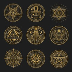 Occult signs, occultism, alchemy and astrology symbols and sacred religion mystic emblems. Vector magic eye, masonry pyramid and scarab, sun and moon in pentagram, egypt ankh esoteric round signs set