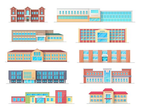 School building isolated icons of education architecture vector design. High, elementary and preschool, primary, junior and grade school buildings, public construction exteriors, facades and entrances